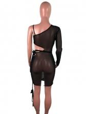 Sexy Club Hollow-Out Tie-Wrap Gauze Dress