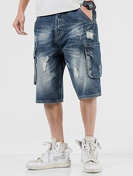 New Arrival Pocket-Designed Denim Short Pants Online