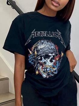 Leisure Funny Print Skull Tee Shirt
