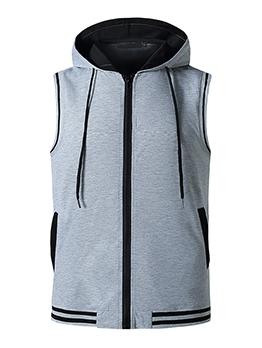 Contrast Color Hooded Collar Sleeveless Zipper Tees
