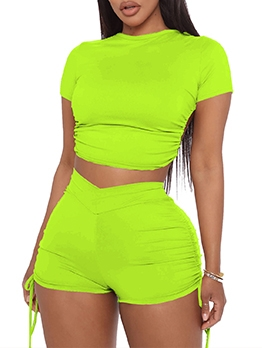 Sport Solid Backless Crop Top And Short Set