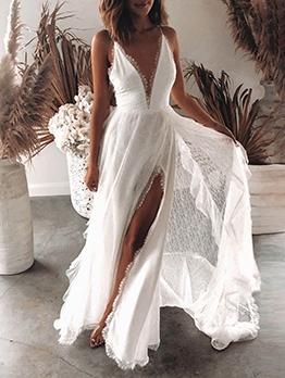 High Vent Camisole Design White Evening Dresses