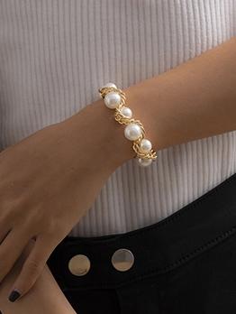 Faux-Pearl National Vintage Hand Bracelet