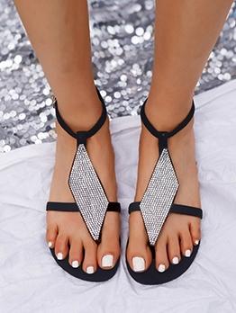 Retro Round Toe Rhinestone Flat Ladies Sandal