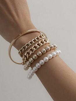 Punk Faux-Pearl Design Multilayer Bracelet For Women