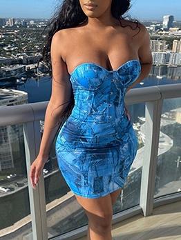 Seductive Off Shoulder Print Strapless Bodycon Dress
