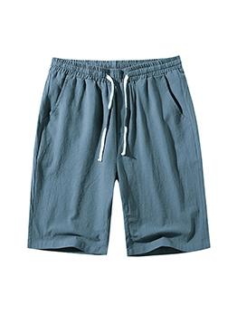 Summer Pure Color Beach half Linen Pants Men