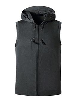 Hooded Collar Sleeveless Sporty Zipper Down Tees