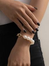 Easy Matching Faux-Pearl Patchwork Bracelet