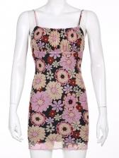 Sexy Flower Print Camisole Mini Dress