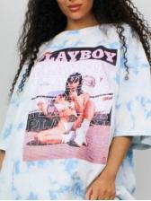 Casual Digital Print T Shirt Dress