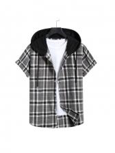 Hooded Collar Plaid Short Sleeve Button Down Shirts