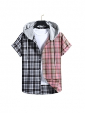 Contrast Plaid Color Hooded Color Mens Shirts