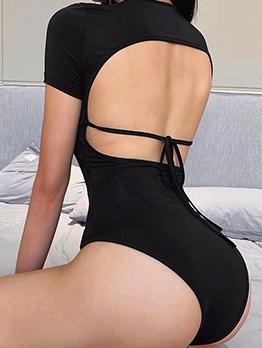 Latest Style Backless Short Sleeve Bodysuit