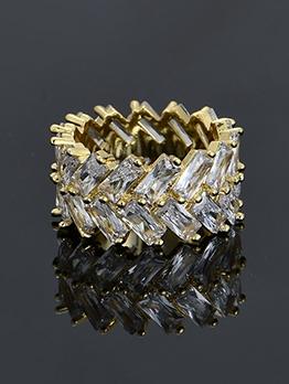 Hip Hop Geometry Zircon Ring For Unisex