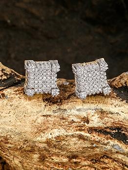Square Shape Zircon Trendy Cool Stud Earrings