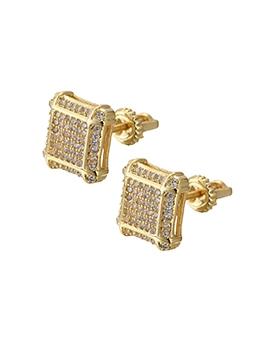 Trendy Square Shape Full Zircon Unisex Earrings