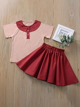 Summer Short Sleeve Girls Two Piece Set Skirt