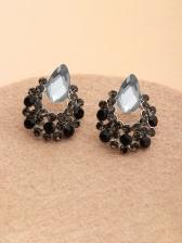 Retro Black Hollow Out Rhinestone Earrings