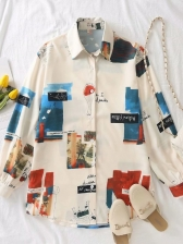 Casual Contrast Color Print Soft Blouse For Ladies