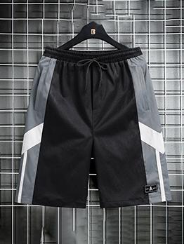 Casual Contrast Color Drawstring Short Pants For Men