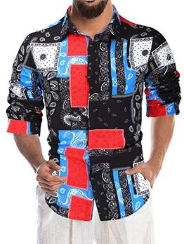 Vintage Contrast Color Men Button Down Shirt