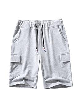 Sporty Pure Color Drawstring Short Pants For Men
