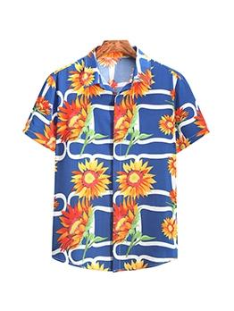 Euro Sunflower Printed Short Sleeve Shirt