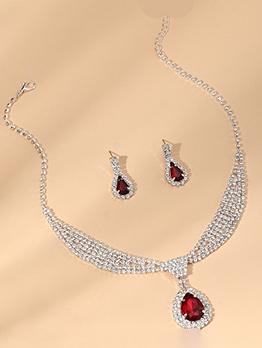 Noble Elegant Party Rhinestone Necklace Earrings Sets