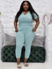 Plus Size V Neck Solid 2 Piece Pants Set