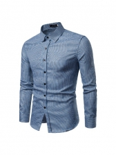 Casual Pure Color Button Up Long Sleeve Shirts