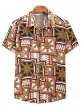 Casual Printed Turn-Down Collar Male Shirt