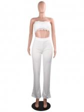 Lacework Solid Cutout Women Strapless Jumpsuit