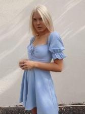 Vintage Puff Sleeve Solid Summer Short Dress Women