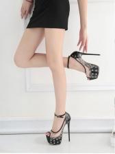 Sexy Rivet Perspective Platform Summer Sandals