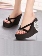 Summer Print Wedge Slippers For Girls