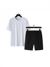 Sporty Quick-Dry Crew Neck Plus Size Athletic Shorts