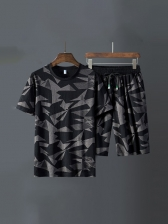 Ice Silk Printed Mens Plus Size Athletic Shorts
