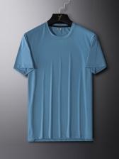 Ice Silk Solid Crew Neck Mens T Shirt