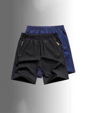Summer Elastic Pure Color Half Pants Men