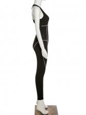 Sport Black Low Cut Jumpsuits For Women