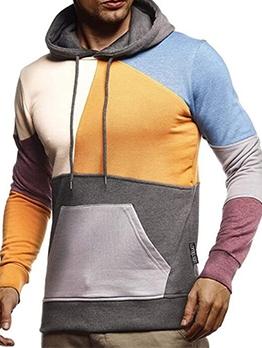 Trendy Long Sleeve Patchwork Mens Pullover Hoodie