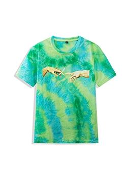 Tie Dye Crew Neck Loose Cotton Mens Tees