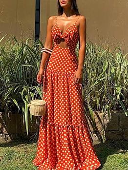 Sexy Sleeveless Camisole V Neck Polka Dots Maxi Dress