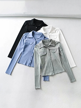 New Solid Single Button Ladies Blouse