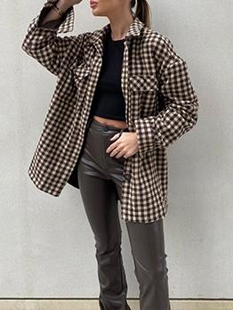 Single-Breasted Pockets Plaid Ladies Coats