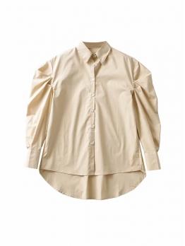 Turndown Collar Solid Irregular Ladies Blouse