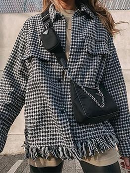 Fashion Raged Hem Houndstooth Womens Coats