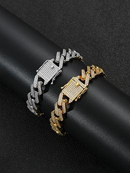 Copper Zircon Hip Hop Bracelet For Unisex