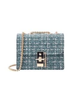 Elegant Contrast Color Chain Crossbody Bag